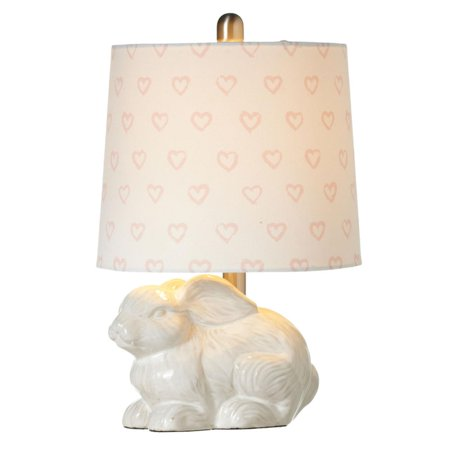 Set of 2 White Bunny Decorative Accent Lamp with Heart Shade. 40W Max 17