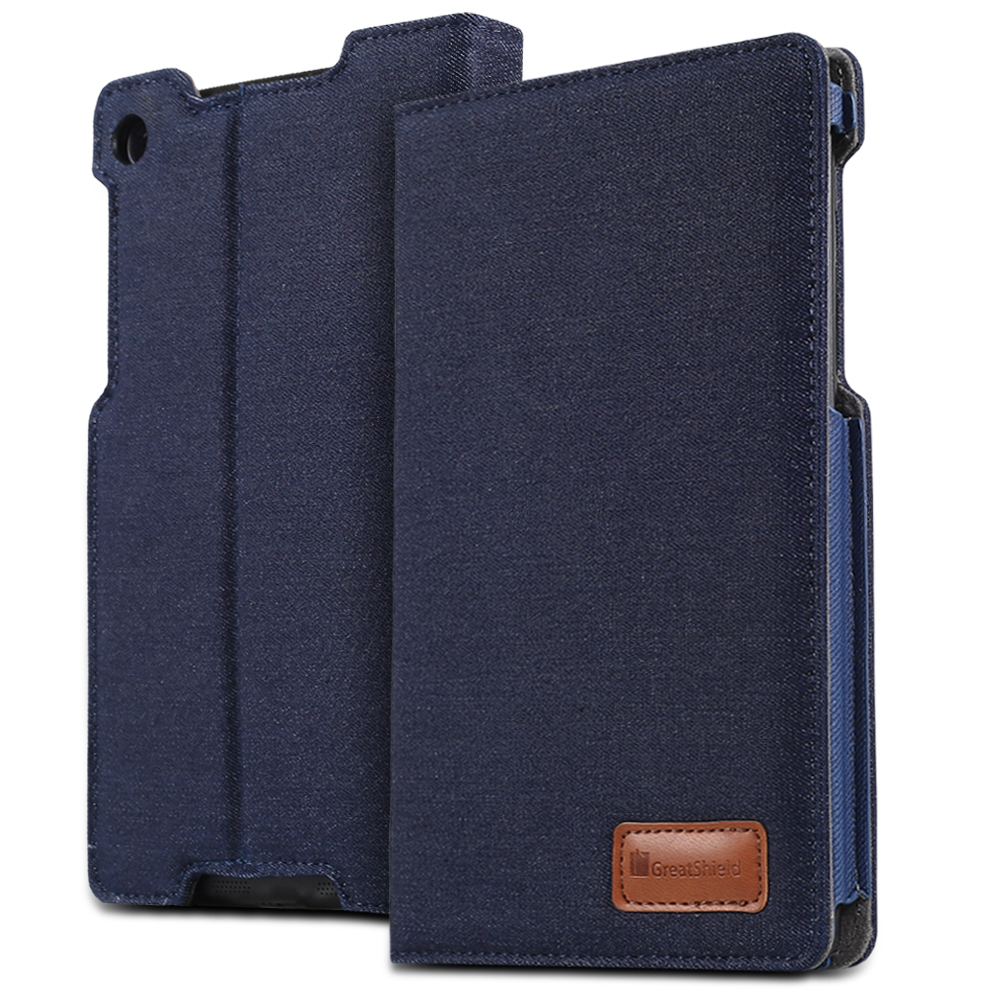 GreatShield VANTAGE Series Multi-Angle Denim Fabric Case with Sleep / Wake Cover for Google Nexus 7 2nd Generation (2013) - Dark Blue