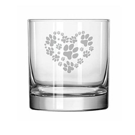 11 oz Rocks Whiskey Highball Glass Heart Paw Prints](Glass Hearts)