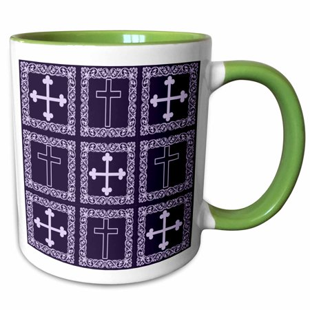 Victorian Rose Frame - 3dRose Christian crosses in a victorian floral frame. Standard cross and iron cross in two purple shades - Two Tone Green Mug, 11-ounce