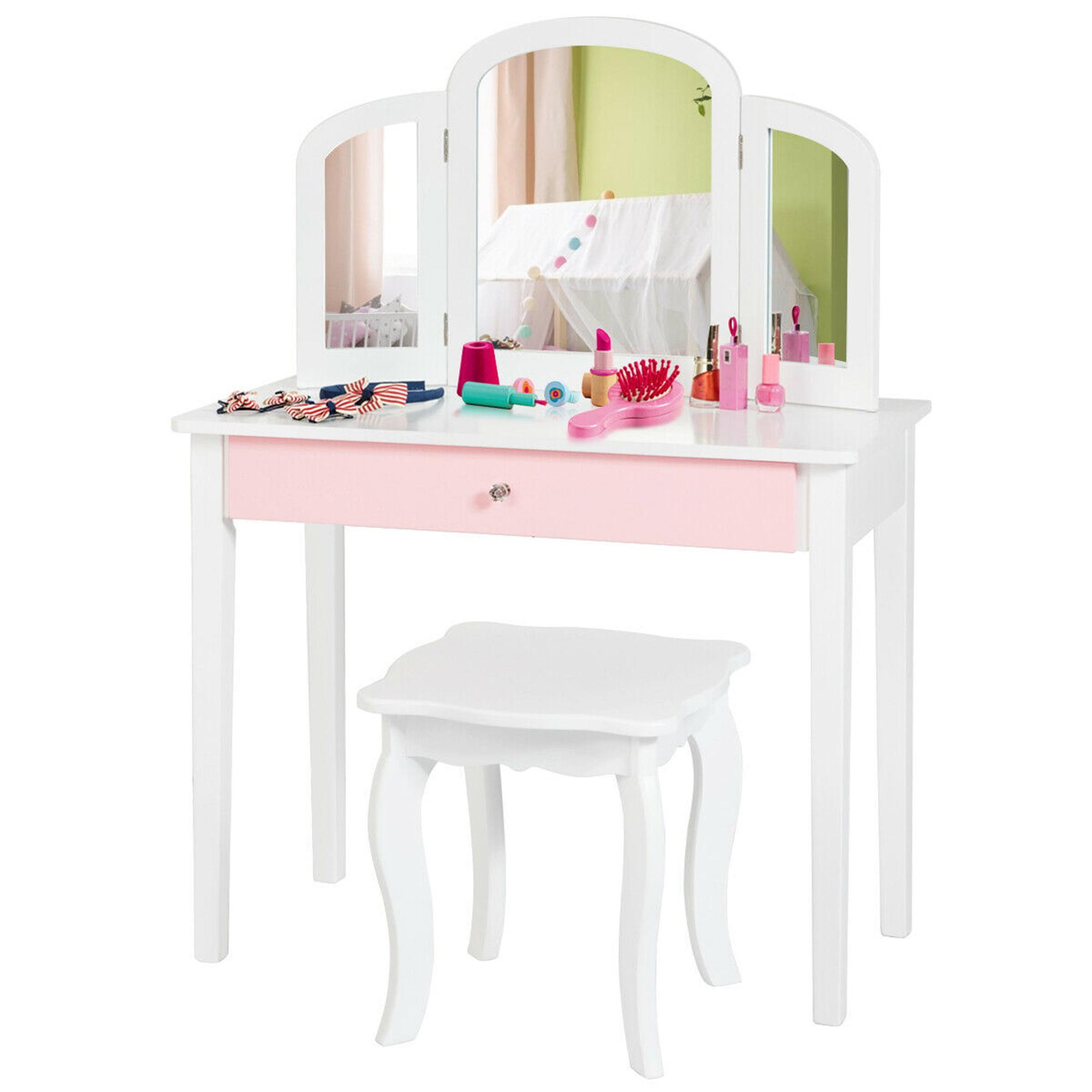 Gymax Kids Vanity Princess Make Up Dressing Table W Tri Folding Mirror Chair White Walmart Com Walmart Com