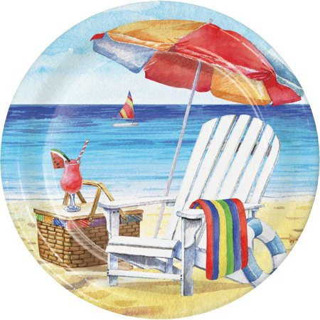 Creative Converting Breezy Beach Paper Plates, 8 ct - Beach Paper Plates