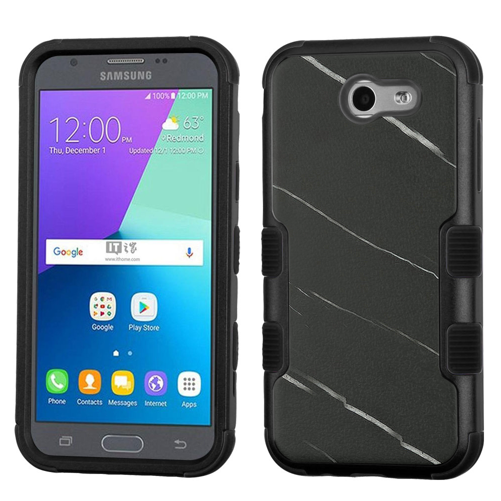 Hybrid Case for Samsung Galaxy J3 Luna Pro 4G LTE / J3 Eclipse, OneToughShield ® 3-Layer Phone Case (Black/Black) - Marble/Black