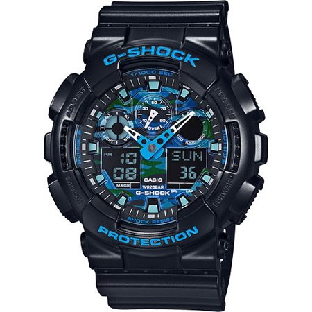 G-shock Stopwatch - Casio G-Shock Black and Blue Ana-Digi Sports Watch GA100CB-1A