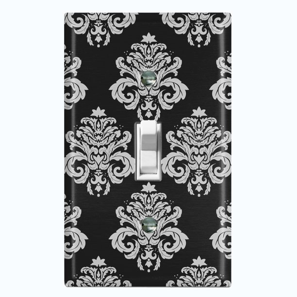 Metal Light Switch Plate Outlet Cover Damask Black Single Toggle Walmart Com Walmart Com