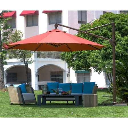 Abba Patio 11-Feet Octagon Offset Cantilever Patio Umbrella with Vertical Tilt and Cross Base, Dark -