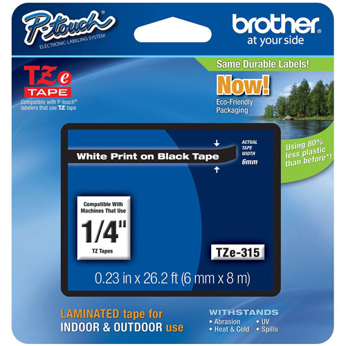 Brother TZE315 6mm Laminated Tape, White on Black