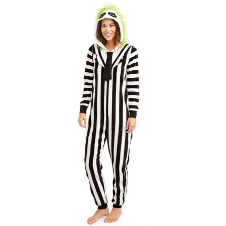 Beetlejuice Women's Sleepwear Onesie Costume Union Suit - Halloween Pj