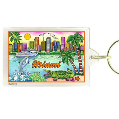 miami florida map acrylic rectangular souvenir keychain 2.5