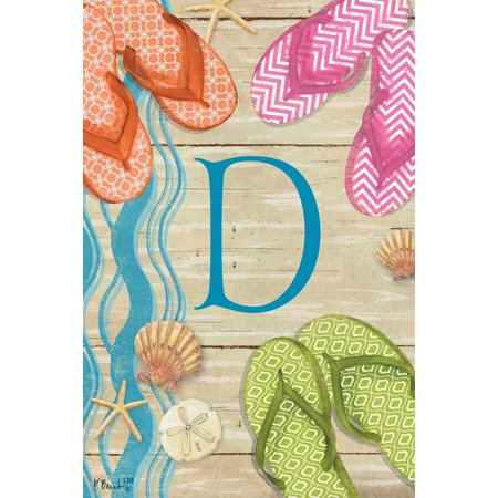 fdb04bce3c9d2f Flip Flops on Ocean Boardwalk Monogram D Double Sided 12 X 18 Inch Garden  Flag - Walmart.com