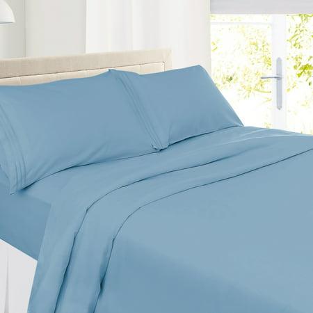Clara Clark Premier 1800 Collection Deluxe Microfiber 3-Line Bed Sheet Set, King Size, Blue Heaven