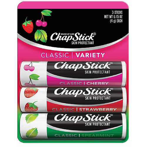 Chapstick Classic Cherry/Strawberry/Spearmint Skin Protectant/Sunscreen SPF 4, 4g, 3ct