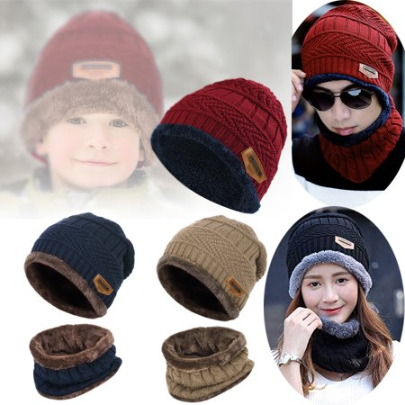Kids Knitted Hat-Fitbest 2 Pieces set Kids Kids Knitted Hat Boys Girls Warm Knitted  Hat Beanie Caps and Scarf with Fleece Lining Winter Outdoor - Walmart. ... f3a196b70a7