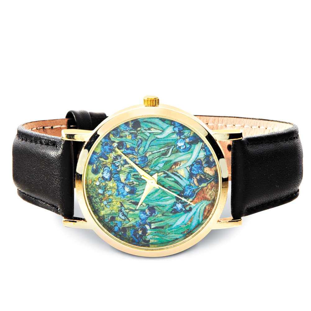 Women's Van Gogh Black Leather Band Watch - Irises