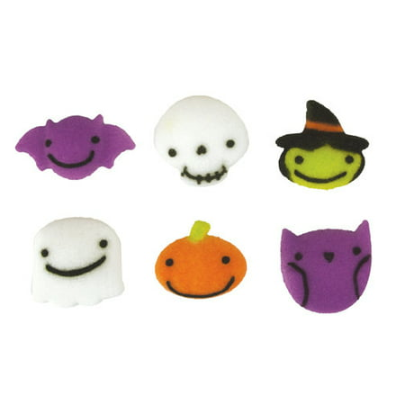 Frightful Charms Assortment Halloween Sugar Decorations Toppers Cupcake Cake Cookies 12 Count - Iced Cookies Halloween