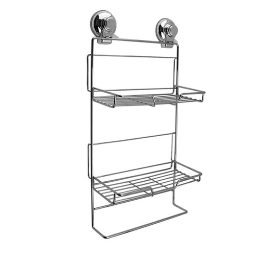 Push To Lock Double Rack Shower Caddy