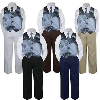 4pc Eggplant Plum Vest /& Tie  Suit Set Baby Boy Toddler Kid Uniform S-7