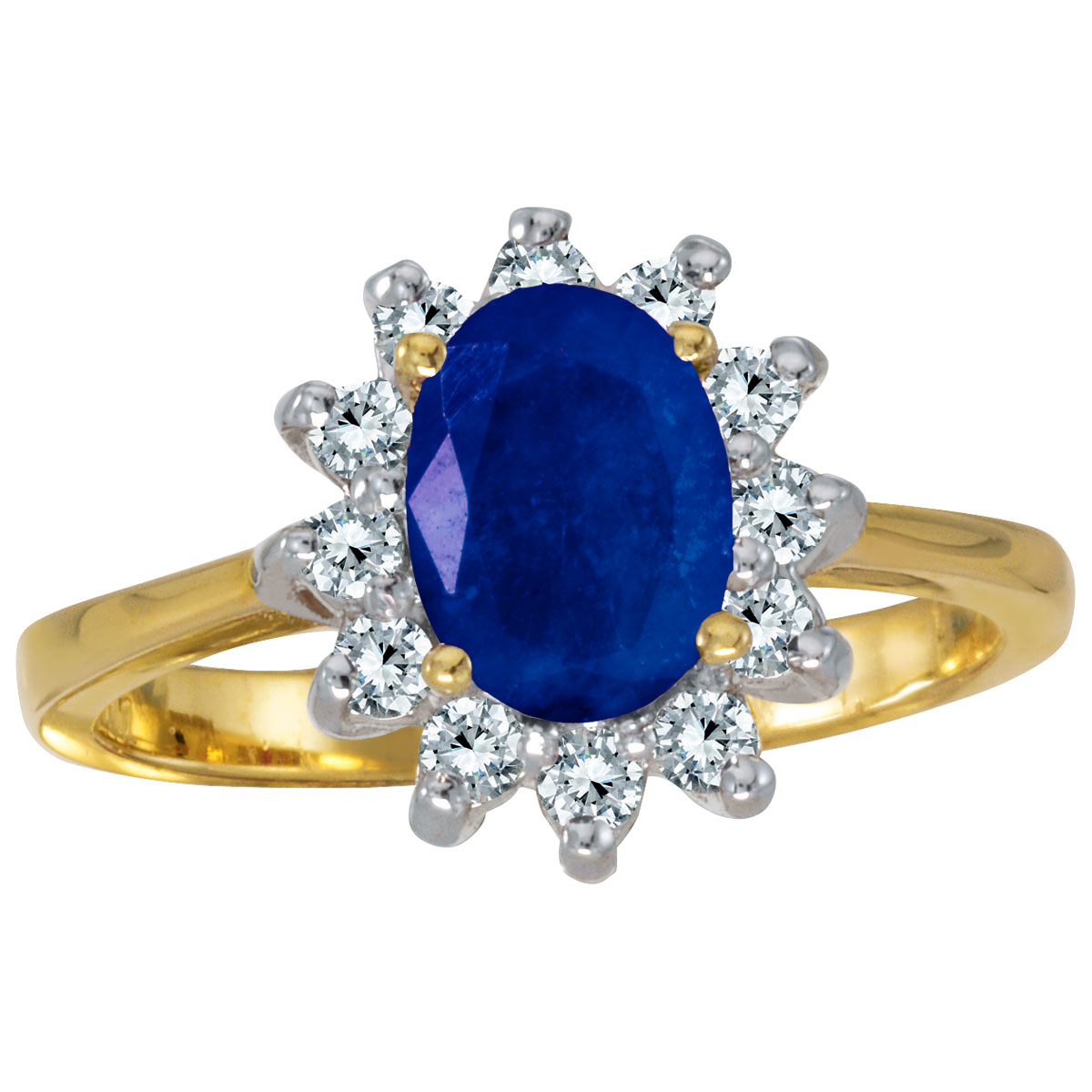 14k Yellow Gold Oval Sapphire And Diamond Ring by