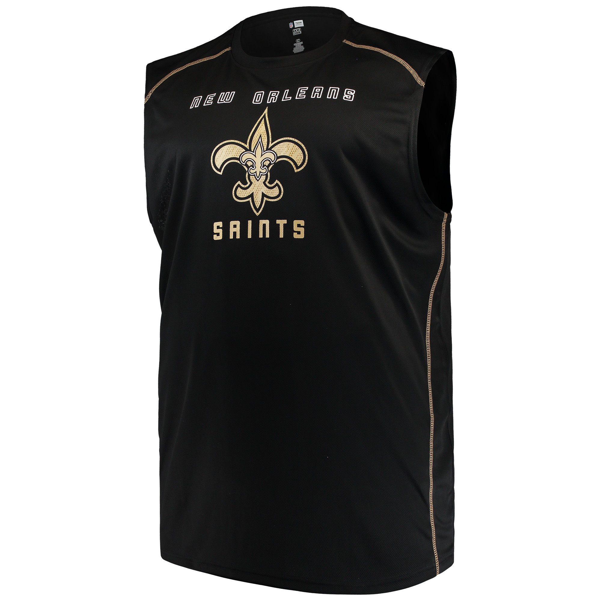 Men's Majestic Black New Orleans Saints Big & Tall Endurance Test Muscle Tank Top