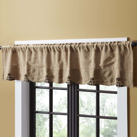 Natural Black Tan Primitive Kitchen Curtains Burlap Natural ...