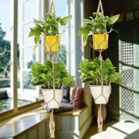 "Indoor Outdoor Macrame Plant Hanger Rope Double 2 Layer Dark Jute Rope Fllower Pot Holder Basket Decor Hanging Rope 49"""