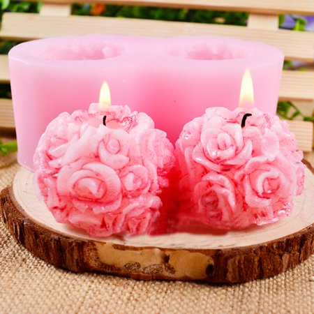 Flexible Silicon Mold - Nicole Flexible 3D Rose Flower Ball Shaped Silicone Decorative Soap Candle Molds