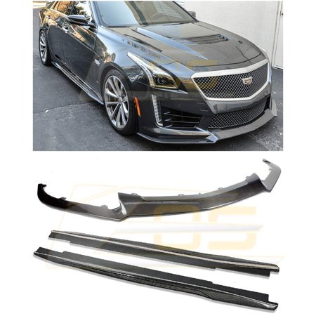 - Replacement 2016-Present Cadillac CTS-V | EOS Carbon Package Style Carbon Fiber Front Bumper Lower Lip Splitter W/Side Skirts Rocker Panel Extensions