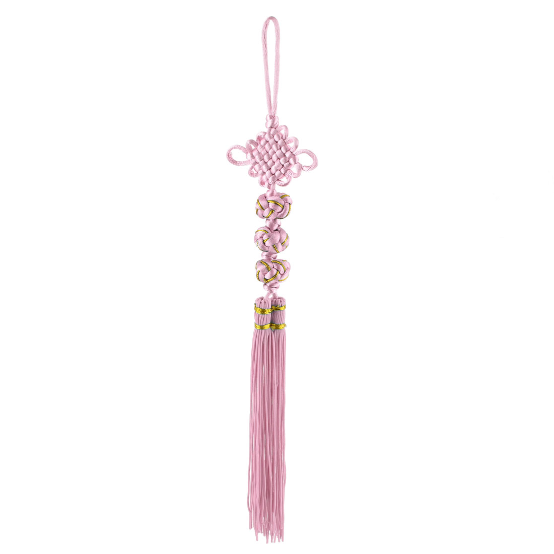 Vehicle Car Polyester Handmade Knit Double Tassel Decor Chinese Knot Light Pink