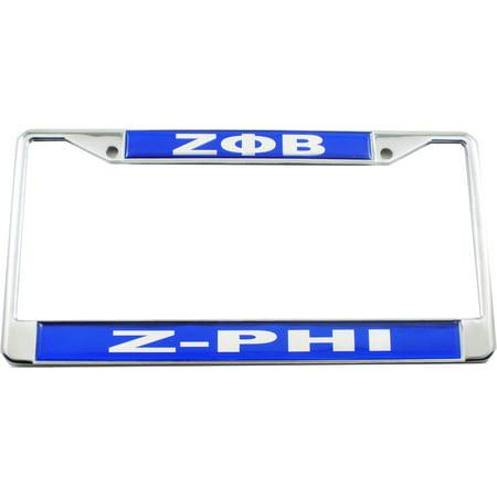 Zeta Phi Beta Domed Z-Phi Call License Plate Frame [Silver - Car ...