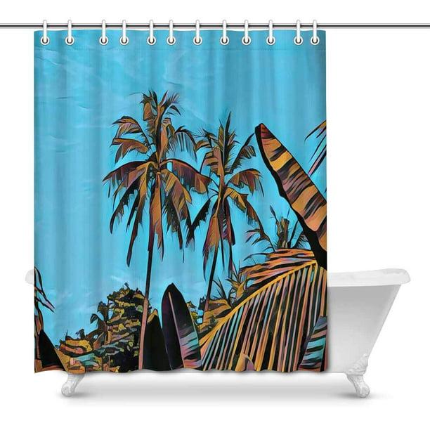 Mkhert Sunny Tropical Scene Landscape, Palm Tree Shower Curtains Bath Accessory Sets