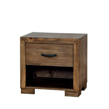 Furniture Of America Fletcher 1 Drawer Nightstand In Pine Wood