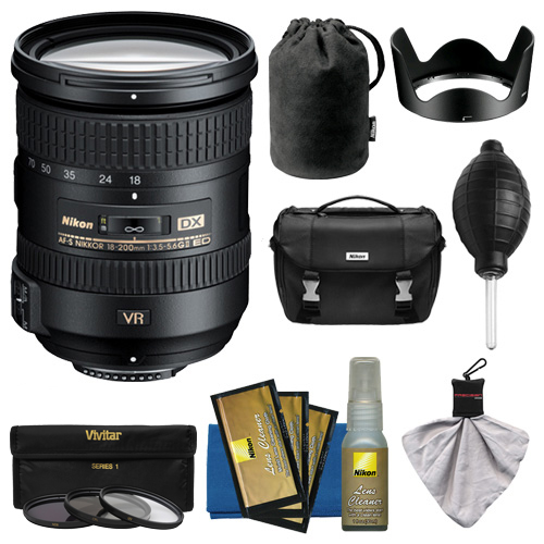 Nikon 18-200mm f/3.5-5.6G VR II DX ED AF-S Nikkor-Zoom Lens with Nikon Case + 3 Filters + Kit for D3200, D3300, D5300, D5500, D7100, D7200 Camera