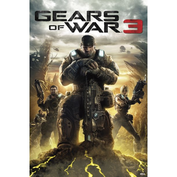 Gears of War 3 Soldiers Marcus Fenix XBox 360 Video Game Poster 24x36 inch