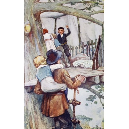 Illustration By AA Dixon From An Edition Dating Circa 1915 Of The Swiss Family Robinson By M Weiss Published By Blackie And Son Limited The House In The Tree Father Robinson Carrying Young Franz Up