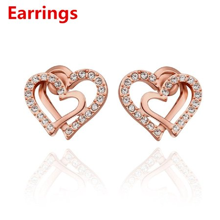 Cy-buity Korean Style 18k White Gold Plated Double Love Heart Shaped Rose-gold Color Earring