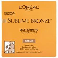 L'Oreal Paris Sublime Bronze Sunless Self-Tanning Towelettes, Streak Free, 6 ct.