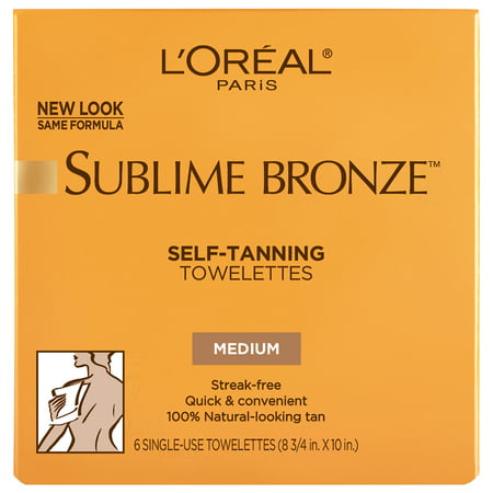 L'Oreal Paris Sublime Bronze Sunless Self-Tanning Towelettes, Streak Free, 6 ct.