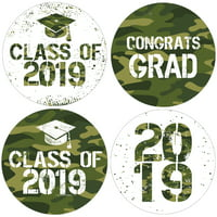 Camo Graduation Party Stickers   40 ct   1 3/4 inch   Army Green Class of 2019 Favor Labels