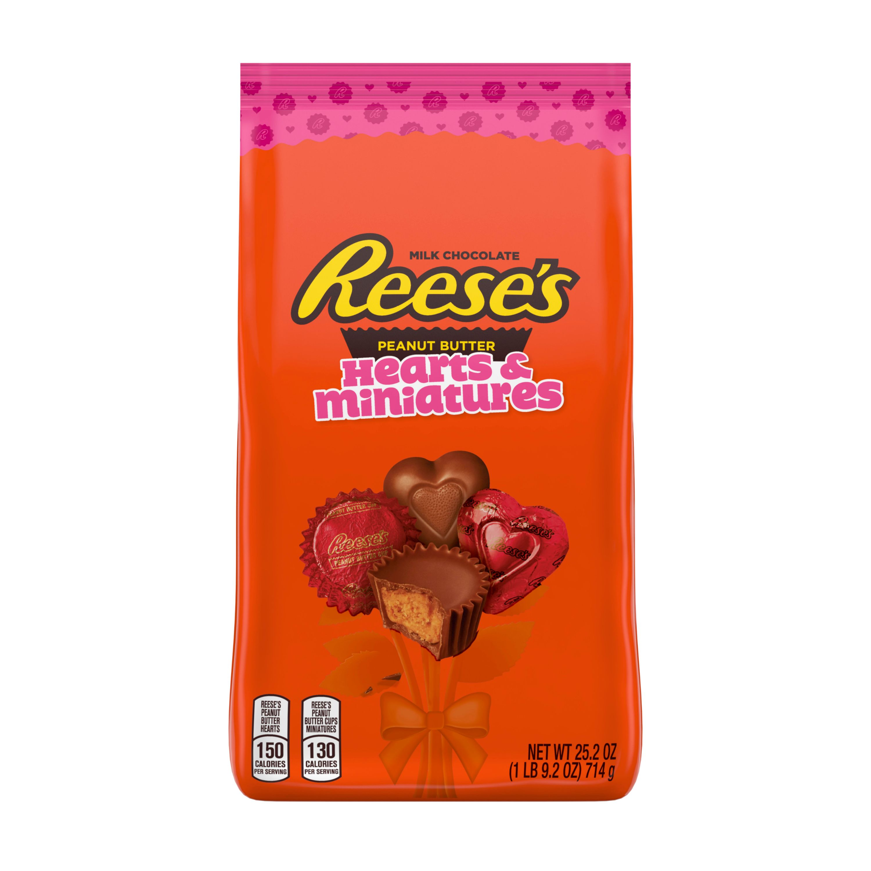 REESE'S, Hearts and Miniatures Assortment Milk Chocolate Peanut Butter Candy, Valentine's Day, 25.2 Oz., Variety Bag