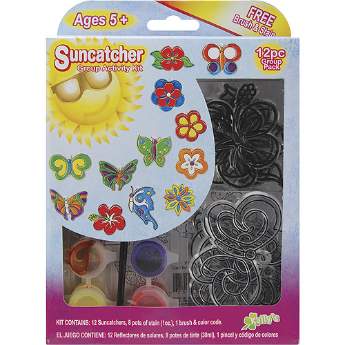 New Image Group Suncatcher Group Activity Kit, Butterfly and Flowers, 12-Pack