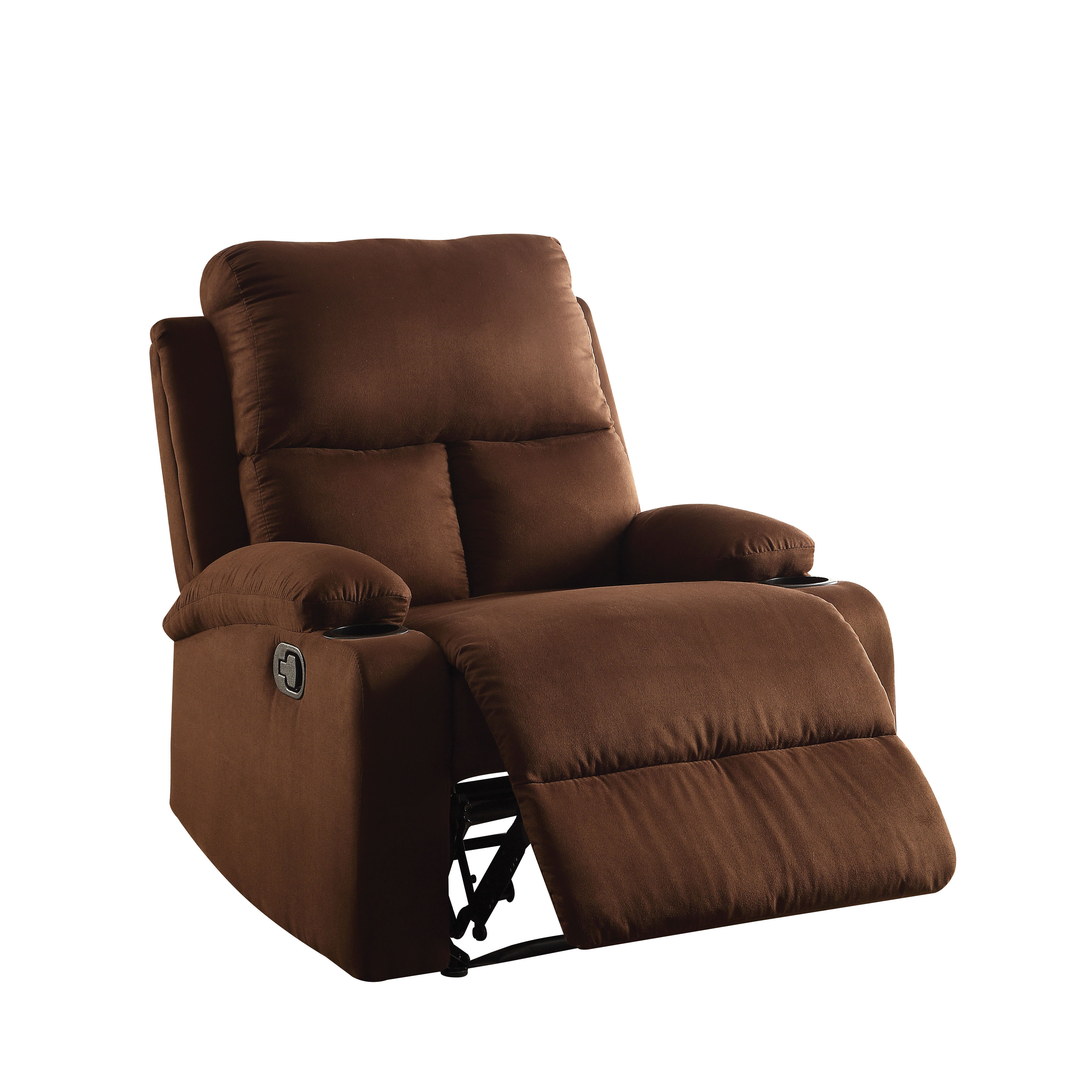 ACME Rosia Chocolate Microfiber Recliner with Cup Holders by Acme Furniture