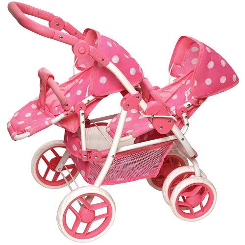 Badger Basket Reversible Double Doll Stroller, Pink Polka Dots