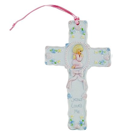 """Pacific Giftware Jesus Loves Me Prayer Little Girl Cross Statue Porcelain Bisque Finish Figurine, 5.5"""" W"""