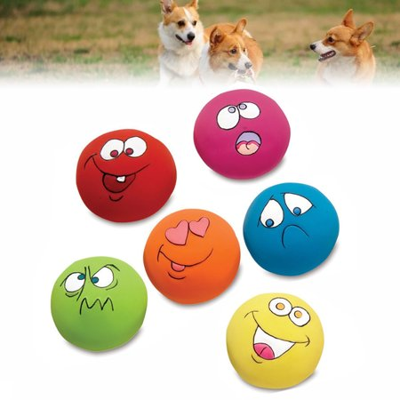 Tuscom Pet Dog Puppy Play Squeaky Ball With Face Fetch Toy