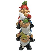 Design Toscano Tower of Three Gnomes and Frog Statue