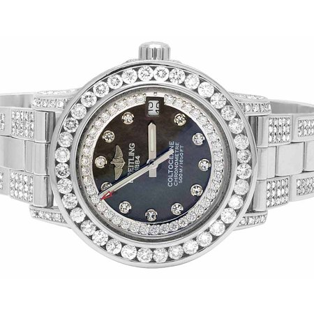 Breitling Custom Ladies Breitling Aeromarine Black MOP Colt 33 Diamond Watch (10.5 Ct)