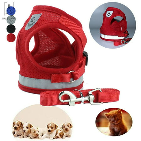 GustaveDesign Dog and Cat Adjustable Reflective Harness Leash Pet Vest with Traction Rope Soft Mesh Corduroy Dog Harnesses