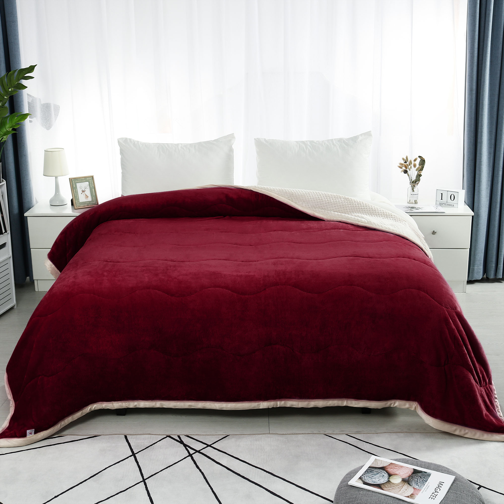 """Warm 3 Layers Solid Soft Thick Fleece Bed Blanket Queen 78x90"""" Coffee Color"""