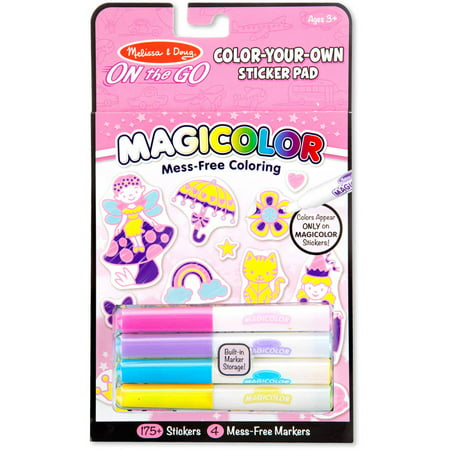 Melissa   Doug On The Go Magicolor Color Your Own Sticker Pad   Princesses  Animals  And Fairies
