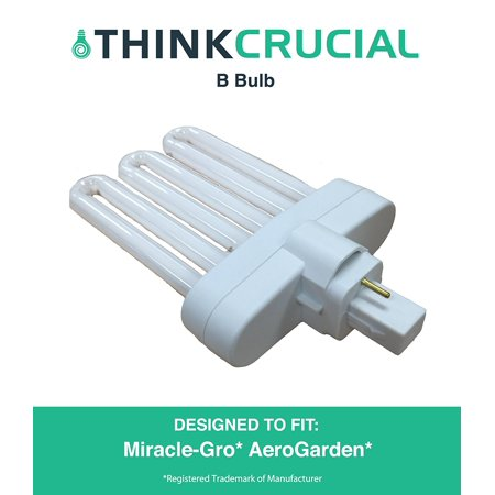 High Efficiency Miracle-Gro AeroGarden B Grow Bulb, Premium Fluorescent Light Projection, 7 x 5 x 4.25 in., Part # 970904-0200, 100340, by By Think Crucial